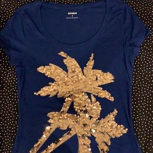 Express Navy sequin palm tree Tee